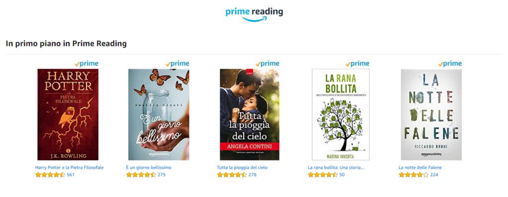 esempio di alcuni libri inclusi in amazon prime reading,