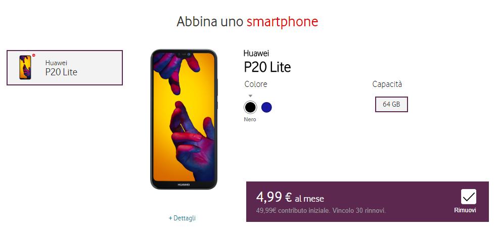Screenshot della selezione (opzionale) dello smartphone da abbinare all'offerta
