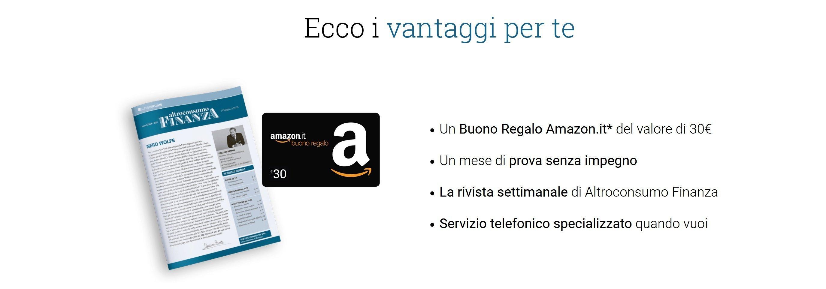 Vantaggi per gli iscritti ad altroconsumo finanza, tra cui un buono Amazon da 30€