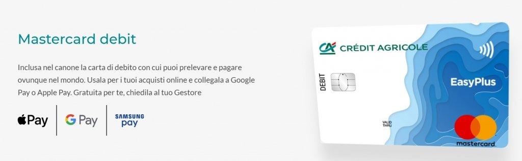 la carta di debito mastercard richeidibile con la promozione Crédit Agricole 100 euro omaggio
